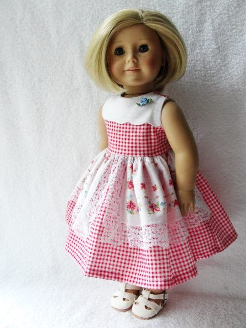 Red Check Hankie Dress - (45) Dresses - Doll Clothes by Jane Fulton