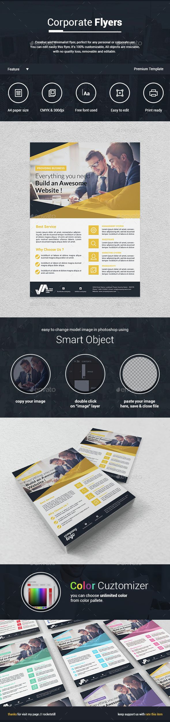 Corporate Flyer Template PSD. Download here: http://graphicriver.net/item/corporate-flyer-/14938123?ref=ksioks