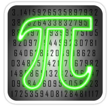 neon pi symbol for pi day sticker