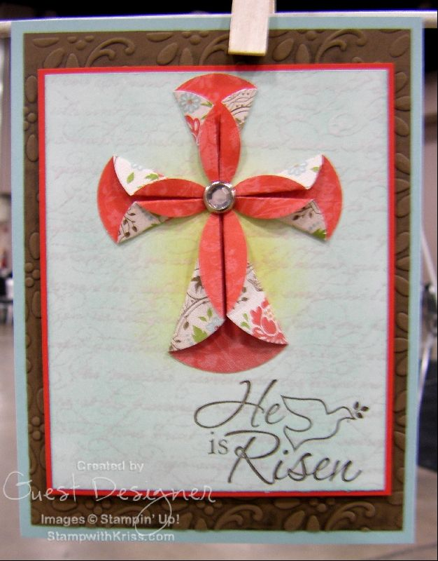 folded paper cross (using SU Sale-A-Bration Everyday Enchantment Designer Series Paper)