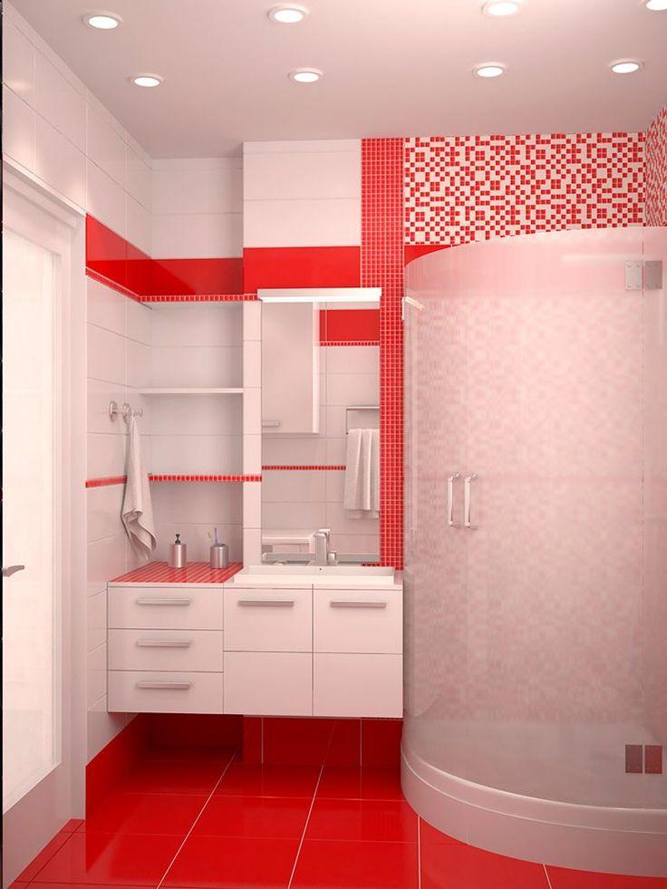 Яркая и веселая ванная комната с большой душевой кабиной и подвесной мебелью. #дизайн_ванной #подвесная_тумба #душевая_кабина #накладная_раковина #красная_ванная_комната #плитка_в_ванную #сантехника_для_ванны #красная_плитка