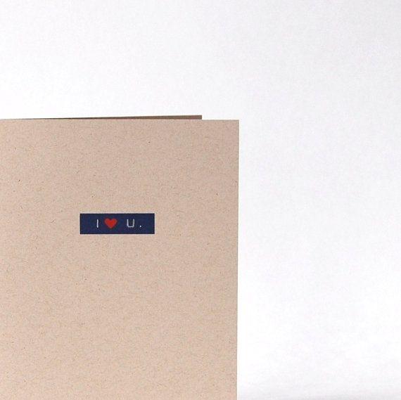 I Love You Card I Heart U. Blank Recycled Greeting by cooljane, $5.00