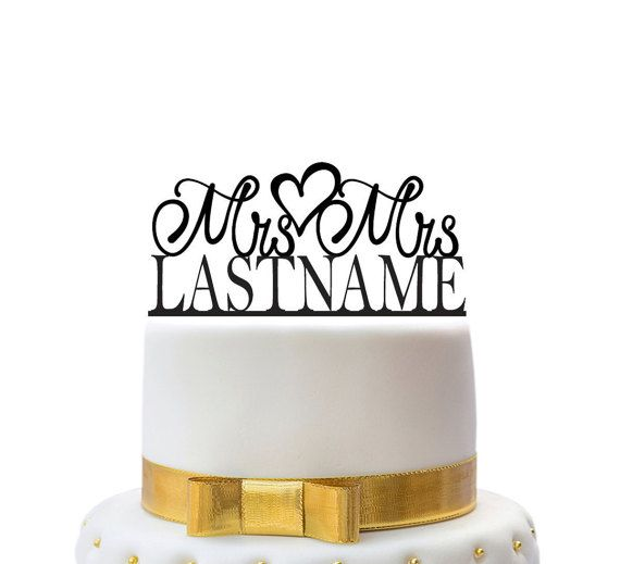 Custom wedding cake toppers mrs and mrs with name for a by LVLYxxx