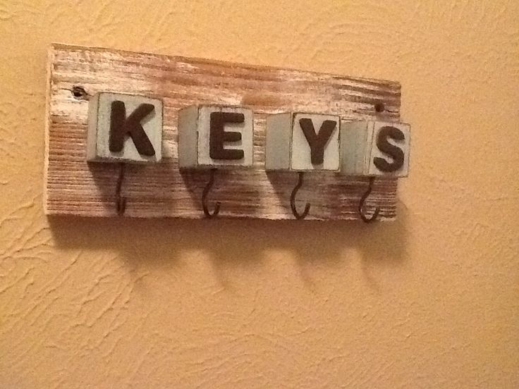 Key holder i made from barnwood wooden blocks and wooden letters stuff i created pinterest - Wooden letter and key holder ...
