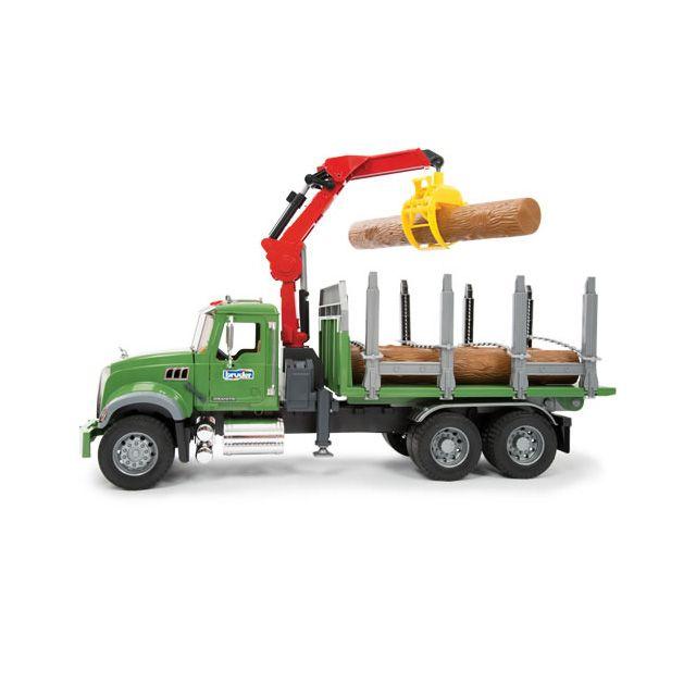 Bruder Mack Granite Timber Truck With Loading Crane And 3 Trunks Timber Mack Trunks