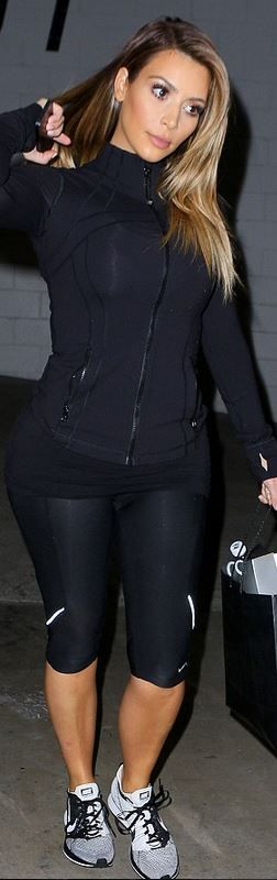 Kim Kardashian: Sweatshirt – Lululemon  Shoes and pants – Nike