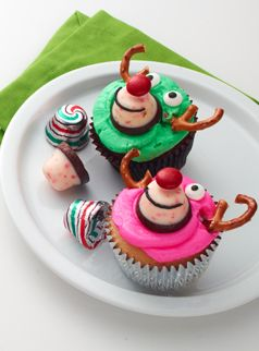 Get creative with your baking and use Hershey's new Peppermint Bark Bells to create these moose cupcakes!