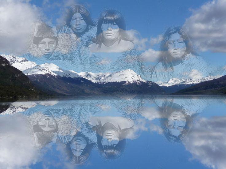 Selknam en paisaje de Tierra del Fuego.