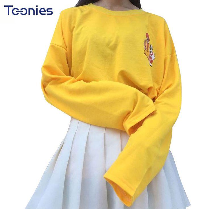 >> Click to Buy << Spring Women Harajuku T Shirt Casual All-match Female Long Sleeve Cartoon Yellow Women Tops Tees Kawaii K-pop Streetwear T-shirt #Affiliate