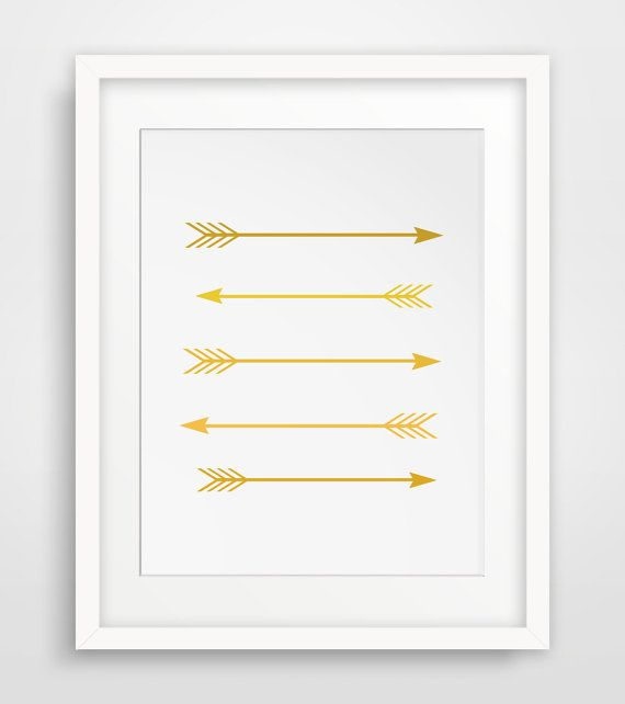 Printable mustard yellow and gold arrow wall art    ===      Print out this modern wall artwork from your home computer or local print shop to