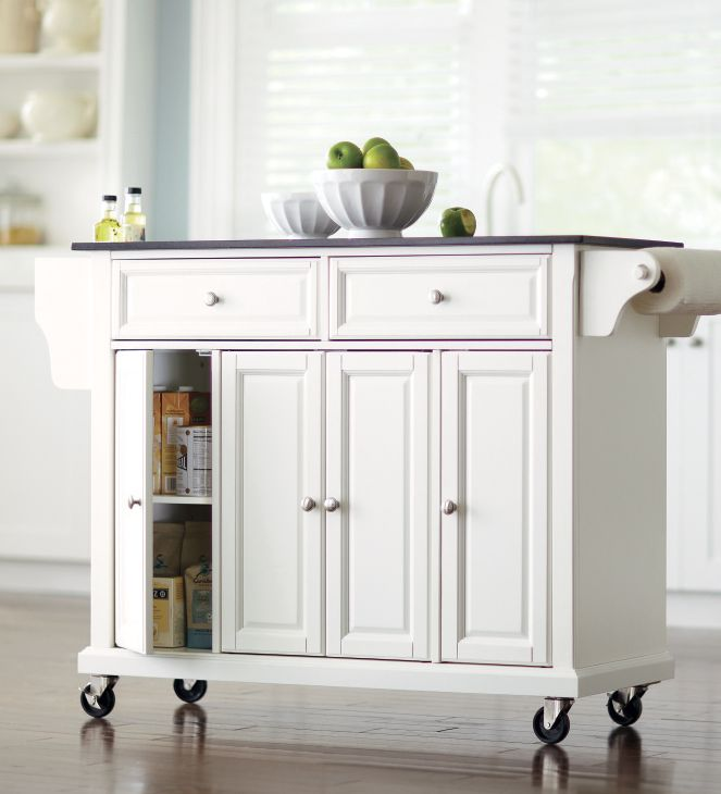 With a kitchen cart you'll: 1. gain extra counter space 2. store more and 3. give friends and family a place to gather around the top chef (you!). HomeDecorators.com