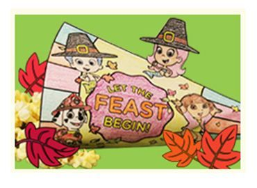 Let kids help decorate the table for Thanksgiving by coloring and constructing a cornucopia featuring their Nick Jr. friends!