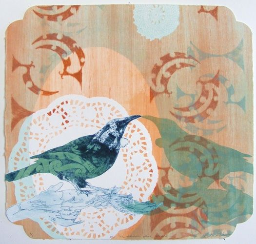 Vanessa Edwards, Me he manu rere ahau..., etching and relief (framed), 1 of 1, 2012. Sold.