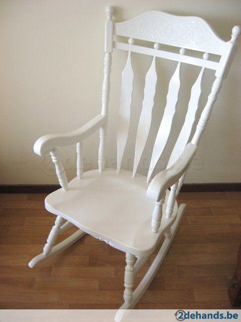 Grote witte schommelstoel - Te koop