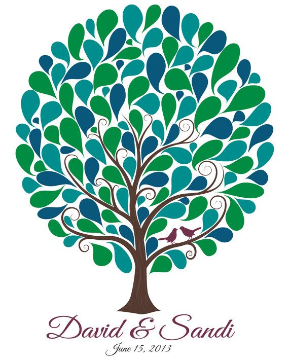 Wedding Guest Tree With 105 Signature Shapes  by MadeForKeepsShop, $30.00