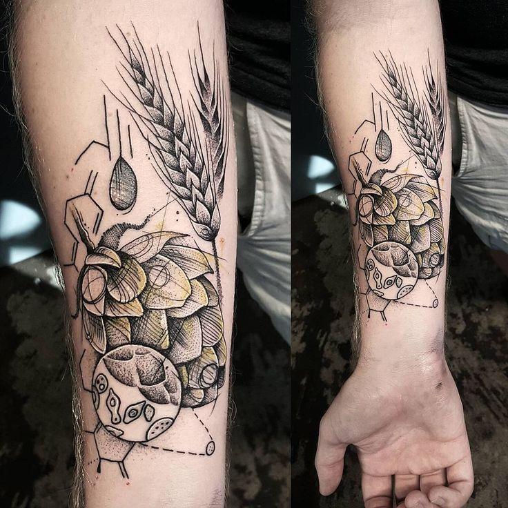 Beer tattoo for a brewer, thanks Nathan! #nctattooers #blackworkers #blackwork #blacktattoo #blxckink #beer #beertattoo #cuttybage #ladytattooers #hops #barley #sciencetattoo #science #darkartists #blackclaw