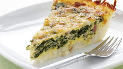 Potato-Crusted Spinach Quiche | Try a delicate spinach quiche made with a potato crust for your next Sunday brunch.