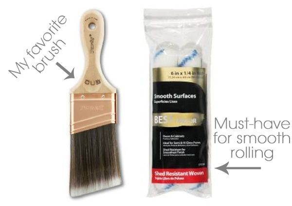 Best brush and roller for painting furniture, including additives to reduce brush strokes on cabinets.