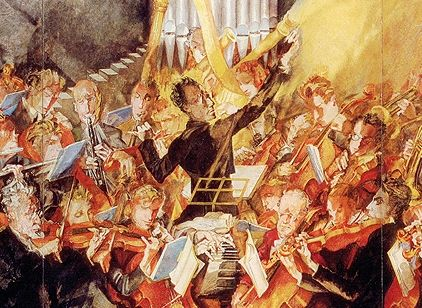 Max Oppenheimer - 188x-1954 - Gustav Mahler conducts the Vienna Philharmonic Orchestra, detail