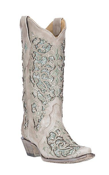 ee2bb8cd68e6 Corral Women's White w/ Mint Glitter & Crystals Inlay Wedding Snip Toe Boots  | Cavender's #glittershoesboots