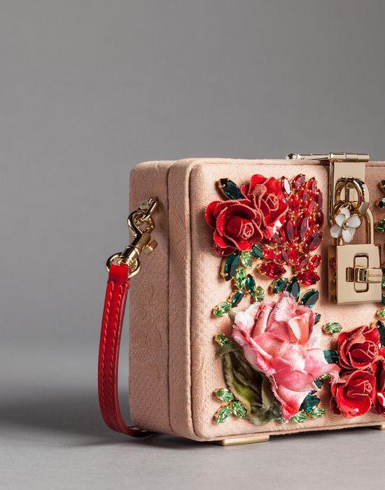 BORSA DOLCE BAG JACQUARD ROSE RILIEVO STRASS  - Borse piccole in tessuto - Dolce&Gabbana - Inverno 2015
