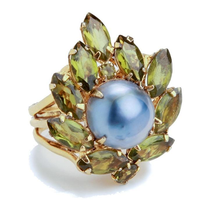Peridot and Grey Mabe Pearl Ring - Bounkit