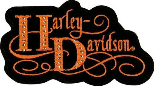 HARLEY DAVIDSON WOMEN'S LADIES ORANGE Harlequin Patch BADGE EMBLEM VEST JACKET
