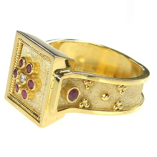 Side view: Damaskos Ruby Flower Square Face Ring. 18k Gold, a Diamond and a choice of Rubies, Sapphires and Emeralds. See more Greek jewelry at www.athenas-treasures.com