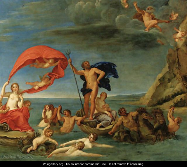 The Maritime Realm Neptune and Amphitrite - Francesco Albani - WikiGallery.org, the largest gallery in the world