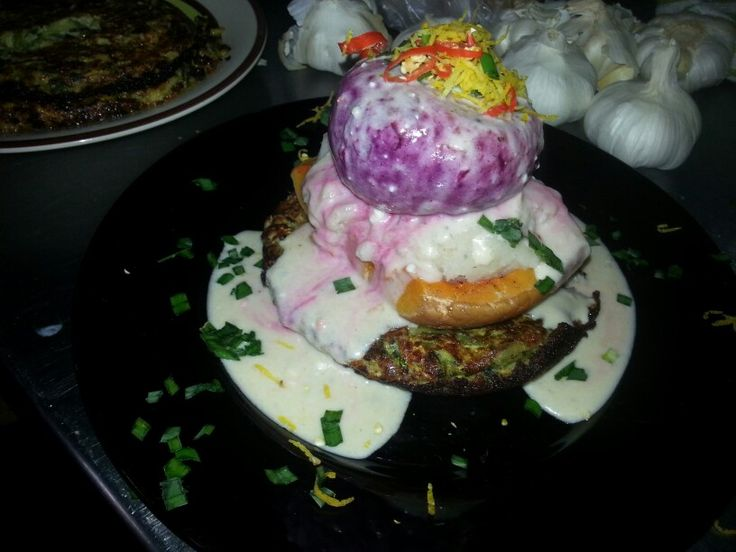 Stacked vegetarian Roast topped with a blue cheese and white wine sauce.