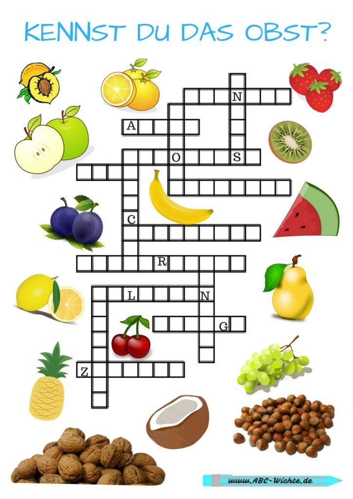Kennst du das Obst? Gitterrätsel für Kinder  Deutsch lernen