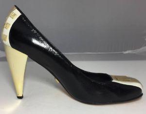 L.A.M.B Gold Stiletto Black/White/Beige Square Toe Pumps Size 10M Made in Spain #ebay #trinital #L.A.M.B.stiletto