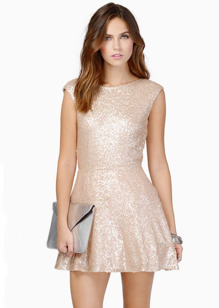 Gold Sleeveless Sequin V Back Dress: HOLIDAY