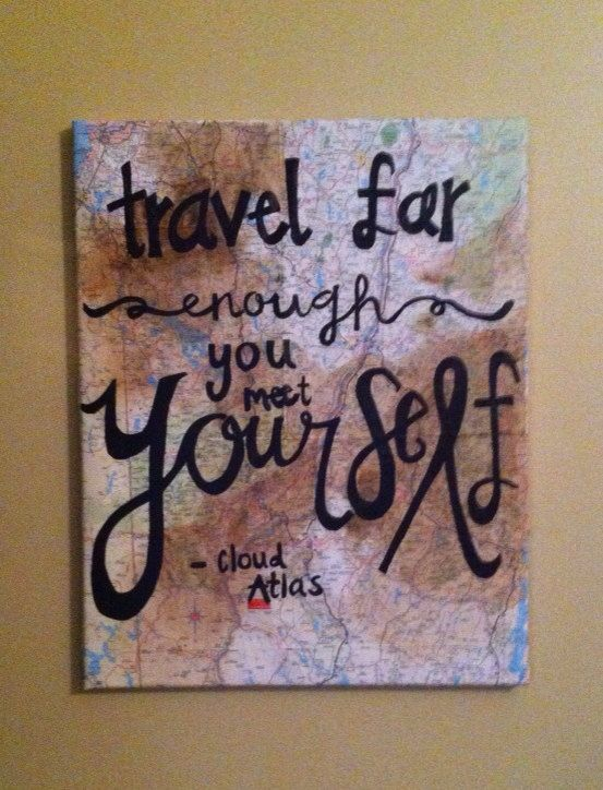 Travel far enough you meet yourself- cloud atlas Quote Map Painting by Hannah Mae Barker on Etsy
