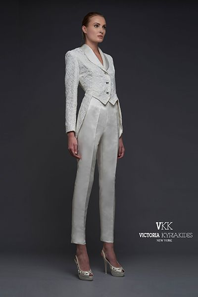 Lacy tuxedo by Victoria KyriaKides.