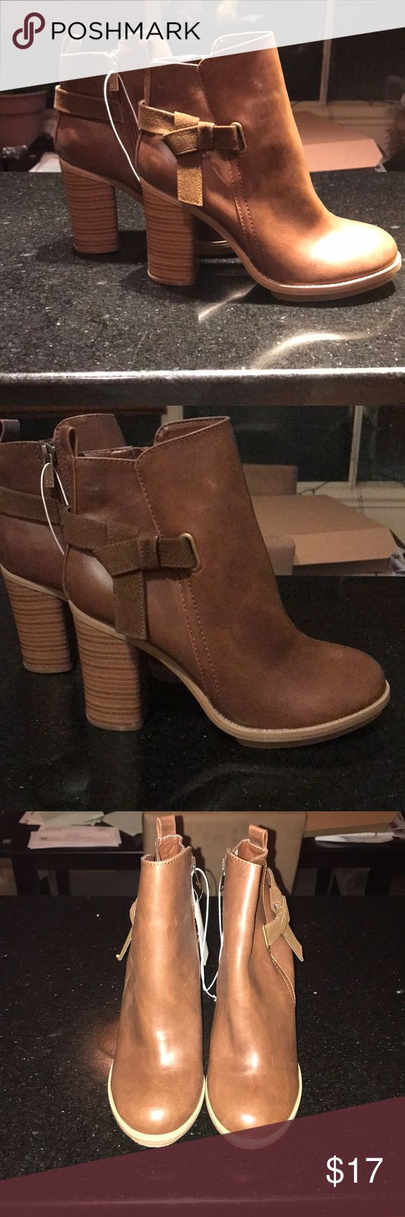 A+ by target Boots A+ by target booties !! These boots are gorgeous!! Super cute and stylish . They are brand new  in the box. Color is a gorgeous cognac . Size 7.5 . Heel is around 3.5 inches ! A+ By target Shoes Ankle Boots & Booties
