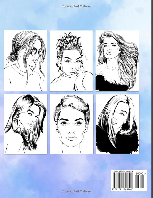 Amazon Com Hairstyles Coloring Book No 2 Women Models With Beautiful Hair Designs For Girls Teenagers Hair Designs For Girls Hair Designs Coloring Books