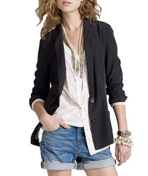 jean shorts with a classic blazer and pearls