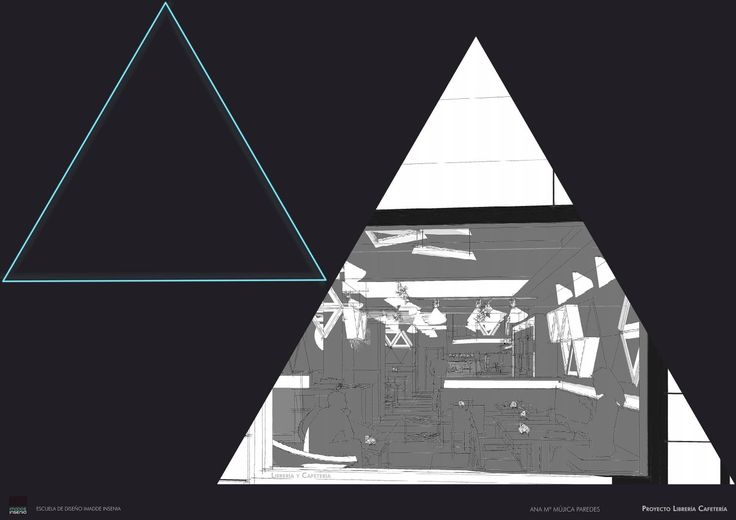 Proyecto Fin de Máster de Interiorismo para cafetería librería redactado por Ana Mújica, alumna de Imadde Insenia Design School Madrid.