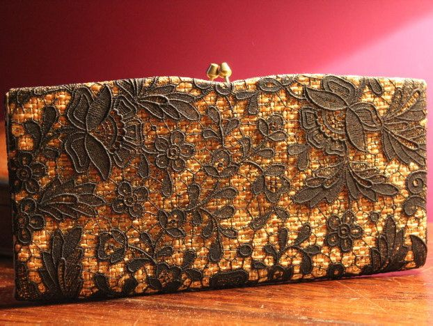 Vintage evening bag, purse or clutch bag. Pretty black lace and gold material. Stylish vintage 1980's chic, - pinned by pin4etsy.com