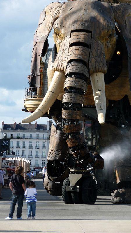La compagnie Les Machines de l'Ile, basée à Nantes, et une de leurs premières créations. Bravo au génie de François et Pierre. Un succès bien mérité. L'éléphant articulé est haut de 14 m et est en bois de tulipier.