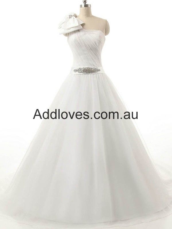 One-Shoulder Ball Gown White Tulle Wedding Dresses