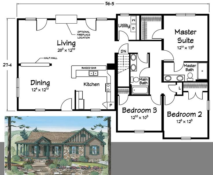 15 best Ranch Floor Plans images on Pinterest | Bungalow floor plans ...