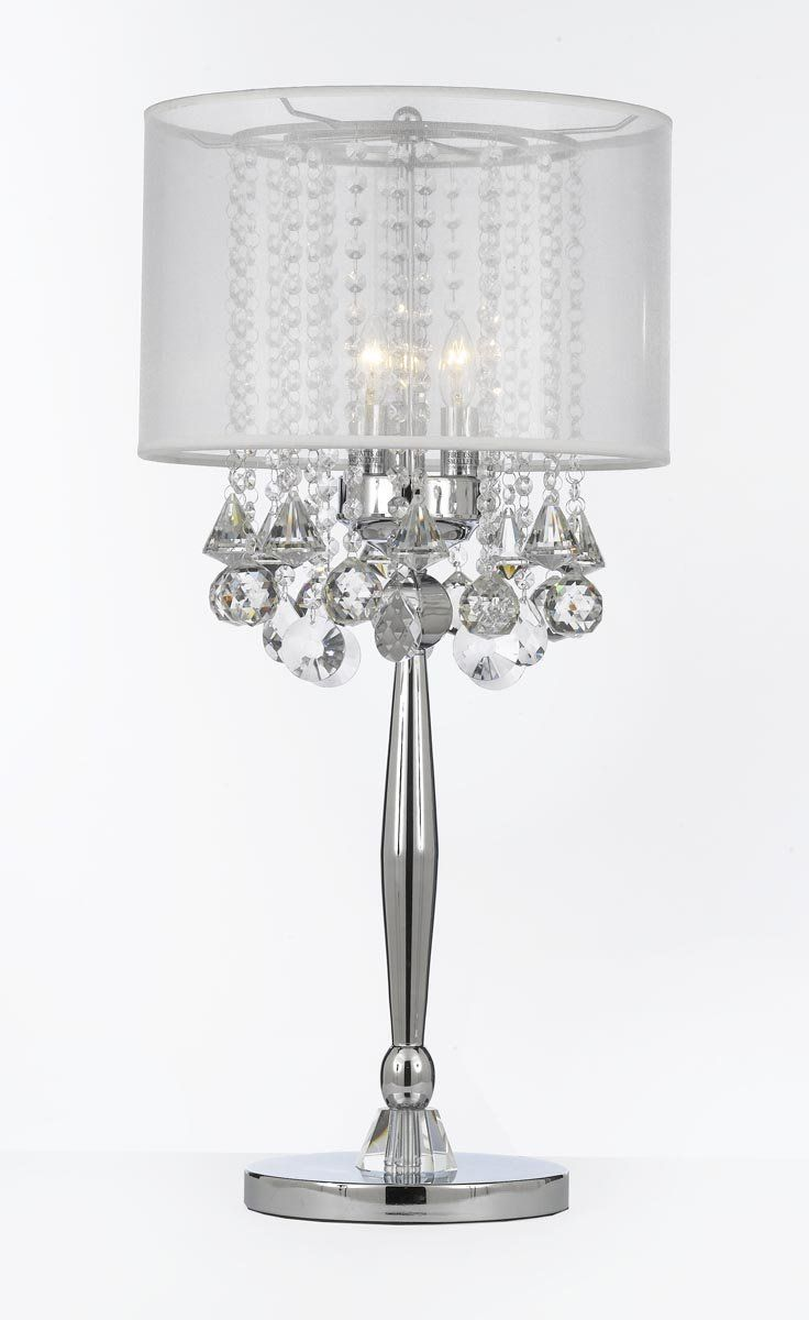 "Size: W 14"" H 29.5"" L 14""  3 Lights   GO-T204-GM-C0036T-W Gallery Table Lamps Silver Mist 3 Light Chrome Crystal Table Lamp with White Shade Contemporary"