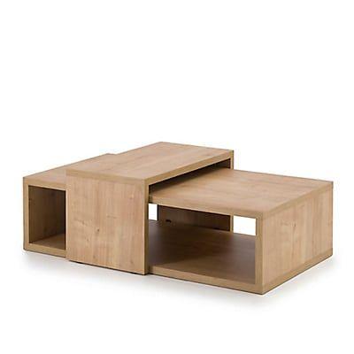 Table basse modulable rectangulaire coloris chêne