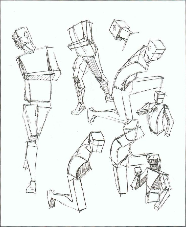 Line Drawing Human Body : Angles human figure box drawing lessons class