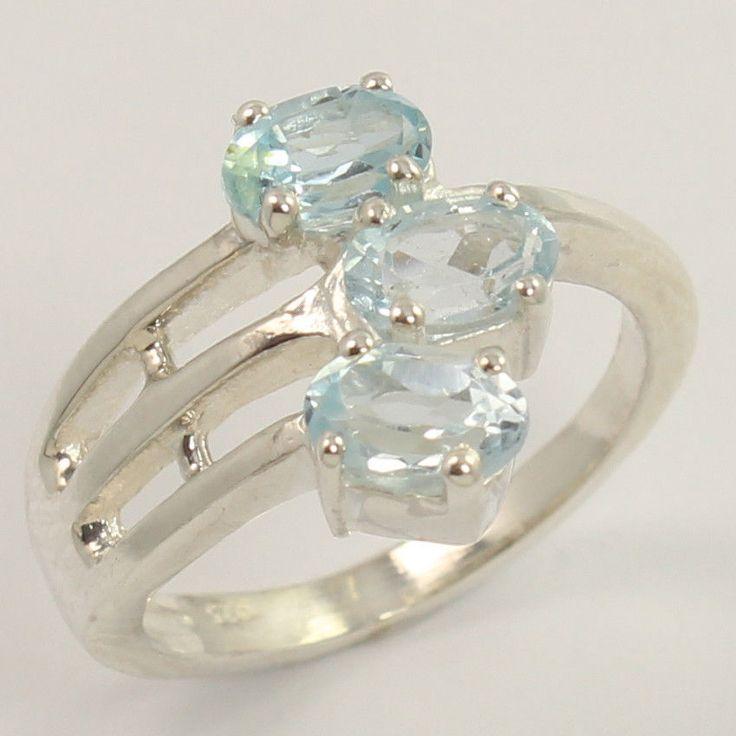925 Sterling Silver Lovely Ring Size US 6 Natural BLUE TOPAZ November Birth Gems #Unbranded
