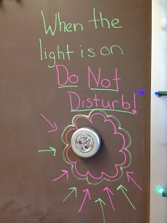 A great way to let kids know when you need to work without being disturbed. Great for small group time.