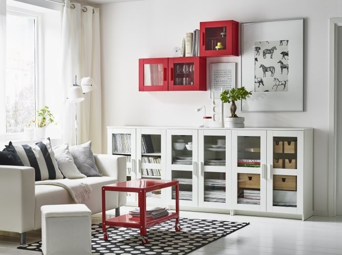white living room cabinet. 30 Genius IKEA BILLY Hacks for Your Inspiration  Ikea hackers Small rooms and Glass doors