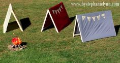 Kid size play tents.  Size of a twin bed sheet.  So cute!  I love this idea for a party.